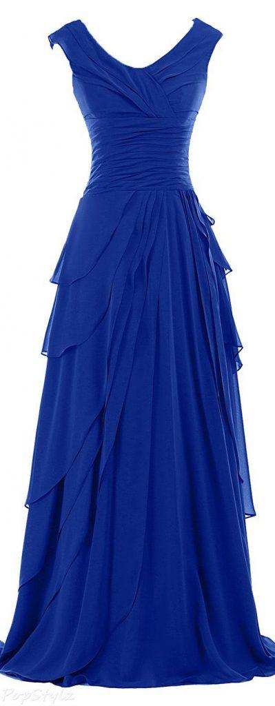 Robe longue mousseline avec volants bleu fonce