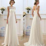 Robe longue mousseline blanche traine pour mariee