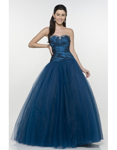 Robe longue mousseline bustier bleu marine jupon volumineux