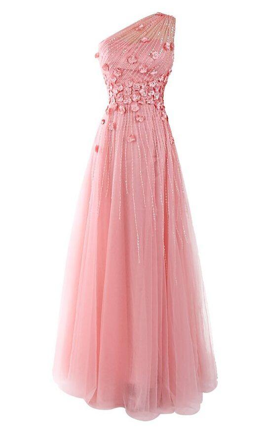 Robe longue mousseline rose asymetrique