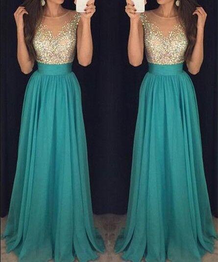 Robe longue mousseline top dore et jupe bleu vert
