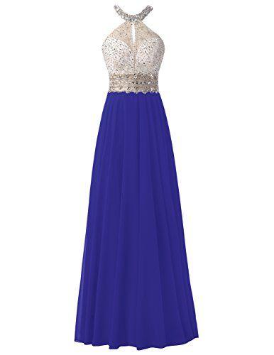 Robe mousseline longue bicolore bleu elextrique et haut argente