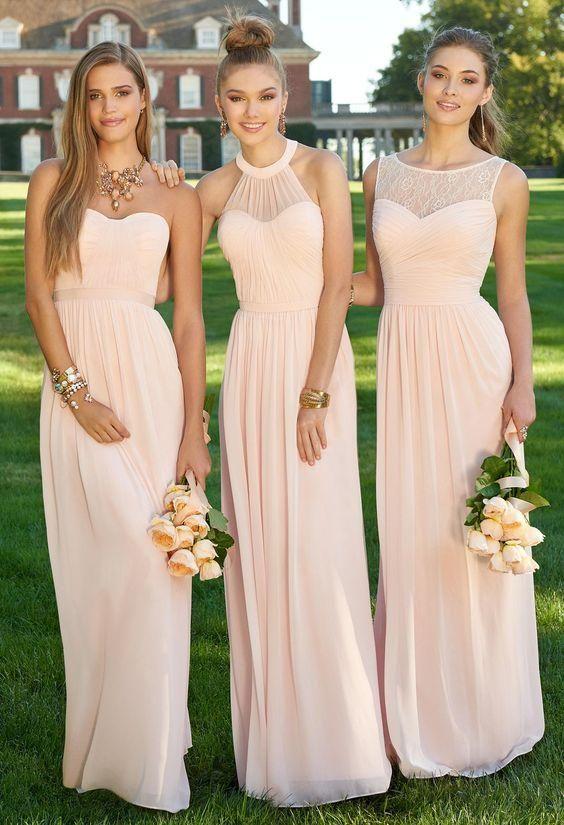 Robe mousseline longue rose pale pour demoiselles d honneur