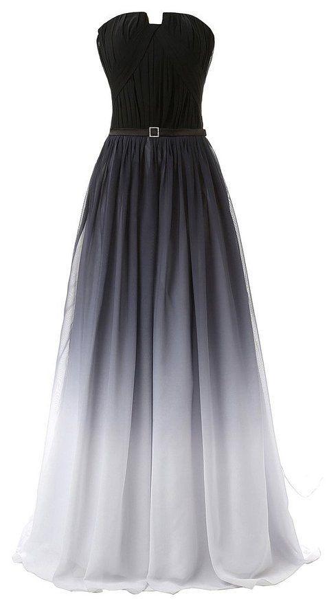 Robe mousseline noire degrade blanc longue bustier avec ceinture