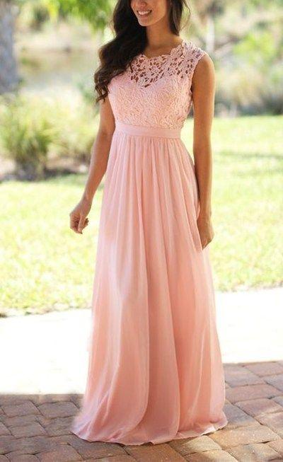 pas cher hot-vente authentique assez bon marché Robe rose haut dentelle longue mousseline - la robe longue