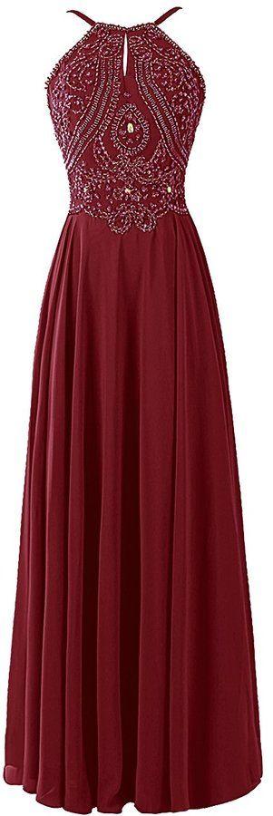 Robe rouge longue mousseline ras de cou avec arabesques en sequins