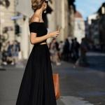Belle robe ete longue noire epaules tombantes