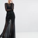 Jolie robe dentelle et voile longue noire habillee