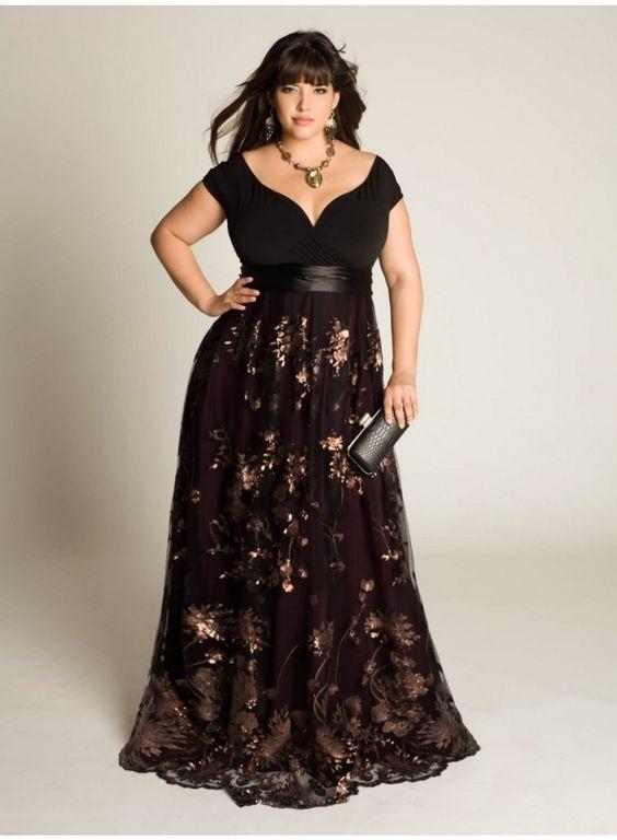 Jolie robe grande taille longue noire avec motifs fleurs