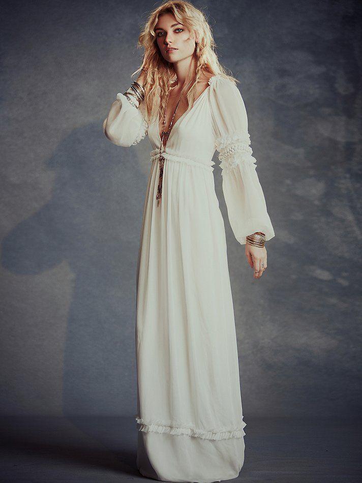 Jolie robe longue blanche boho chic