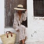 Longue robe chic hippie full dentelle beige ecru
