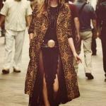 Longue robe noire hippie chic vintage voile et dentelle