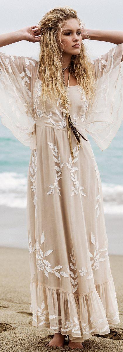Ravissante Robe De Mariee Longue Hippie Voile Et Dentelle Blanc Casse - La Robe Longue-1397