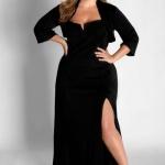 Robe habillee grande taille longue noire fendue decollete