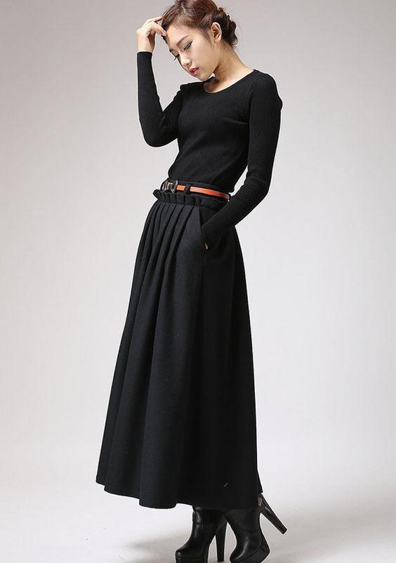 0f28a228d36 Robe hiver pas cher manches longues noire - la robe longue