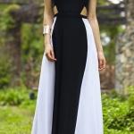 Robe longue bicolore noire et blanche graphique