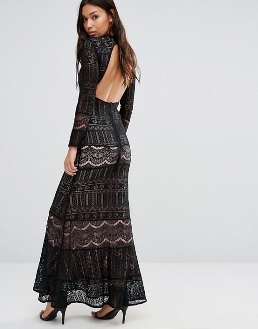 Robe longue boheme dos nu noire