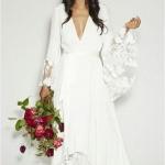 Robe longue boheme manches longues dentelle pour mariee