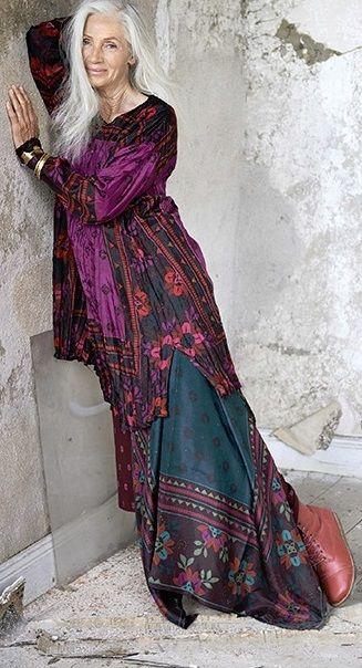 Robe longue boheme manches longues rose bleu violet