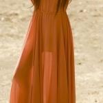 Robe longue bohemienne fluide orange manches ouvertes et longue