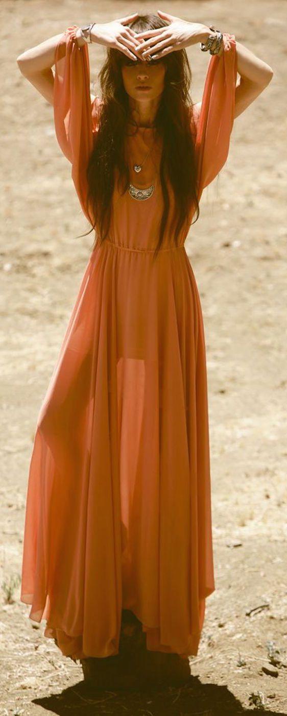 Robe Longue Bohemienne Fluide Orange Manches Ouvertes Et