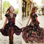 Robe longue bohemienne gypsi noire a fleur rouge