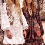 Robe longue bohemienne motifs belles roses rouges