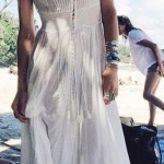 Robe longue boho chic ete blanche a manches courtes en dentelle