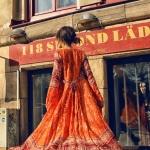 Robe longue boho chic rouge orange tres fluide