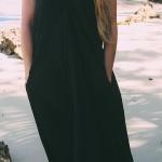 Robe longue ete noire coton fluide a bretelles