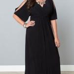 Robe longue grande taille noire habillee