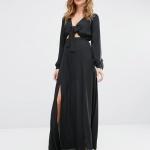 Robe longue habille noire fenude et fluide avec manches longues