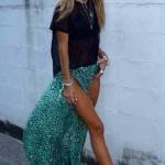 Robe longue hippie chic noire et jupon bleu aqua