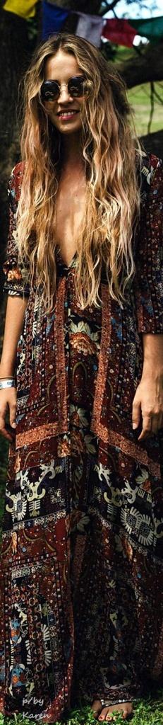 Robe longue hippie marron noire et orange style vintage
