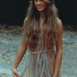 Robe longue hippie superposition de voile beige