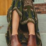 Robe longue hippie vert fonce et manches longues