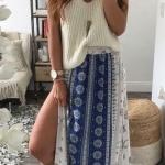 Robe longue jupe hippie bleu et blanche pour ete