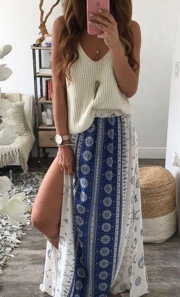 robe longue jupe hippie bleu et blanche pour ete la robe longue. Black Bedroom Furniture Sets. Home Design Ideas
