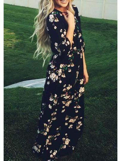 Robe longue manche trois quart noire a fleurs