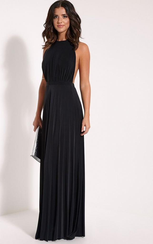Robe longue noire sans manche plissee pour mariage