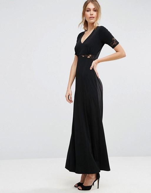 Robe longue noire simple habillee pour mariage