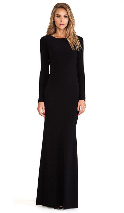 Robe noire simple manche longue maxi longueur