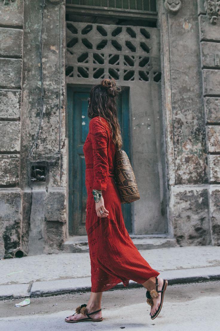 Robe Rouge Manches Longues Et Longue Boheme La Robe Longue