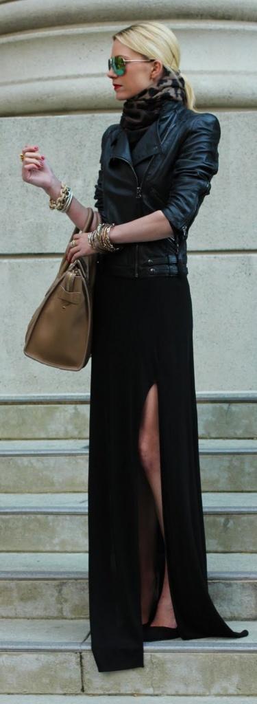 Robe simple ete longue noire fendue sur le cote du mollet