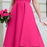 Robe elegante pour mariage mi longue evasee joli rose