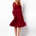 Robe habillee rouge bordeaux manche longue mi longue evasee effet tulle