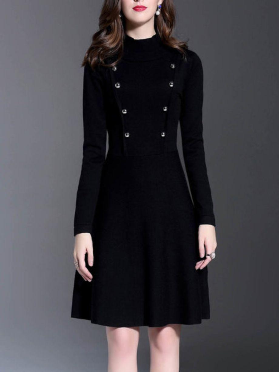 Robe hiver mi longue style manteau avec double bouton