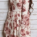 Robe mi longue ete manche longue blanche motif fleur avec poches