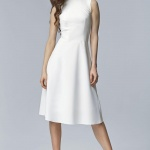Robe mi longue habillee blanche sans manche tres elegante