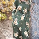 Robe mi longue manche longue elastiquee a la taille motif fleur